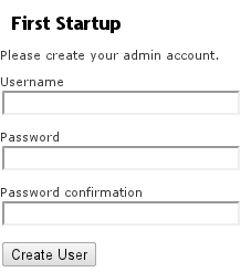 webSMBTA first startup to create an admin account