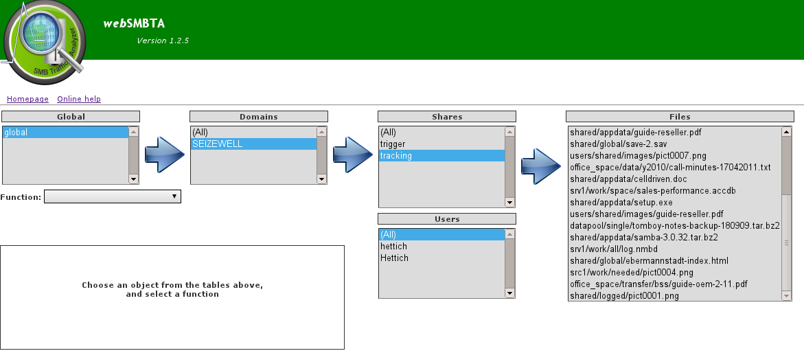 The main object selector screen of webSMBTA, including the file selection
